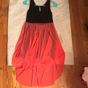 Black and Coral Pink Hi Low cute Dress